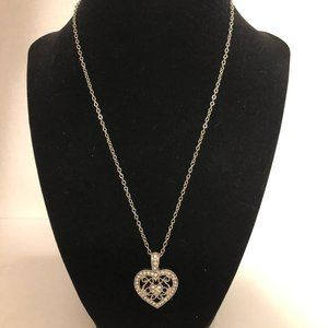 Jewelry - Heart Pendant Necklace - Silverplate and CZ 18-22""